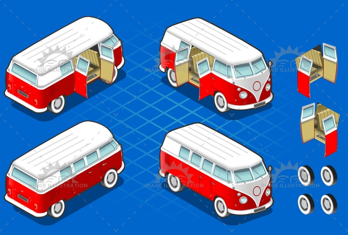 1960, 70s, bus, car, cartoon, Courierofpeople, flowerchildren, landvehicle, Modeoftransportation, Oldfashioned, Psychedelic, red, retrorevival, tires, transport, van, vector, vintagecars, wipers