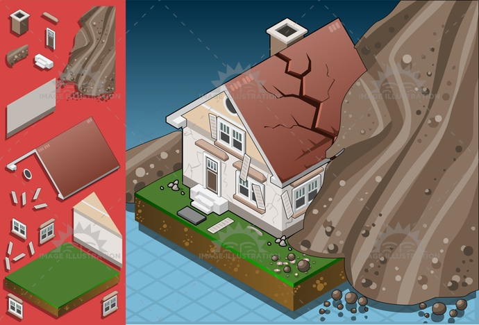avalanche, breaking, collapse, Collapsing, Concepts, Cracked, damage, danger, destroyed, destruction, disaster, displaced, earthquake, ecological, environment, Failure, falling, Fracture, home, house, isometric, landslide, landslip, mountain, nature, risk, rock, Ruined, sand, terrain