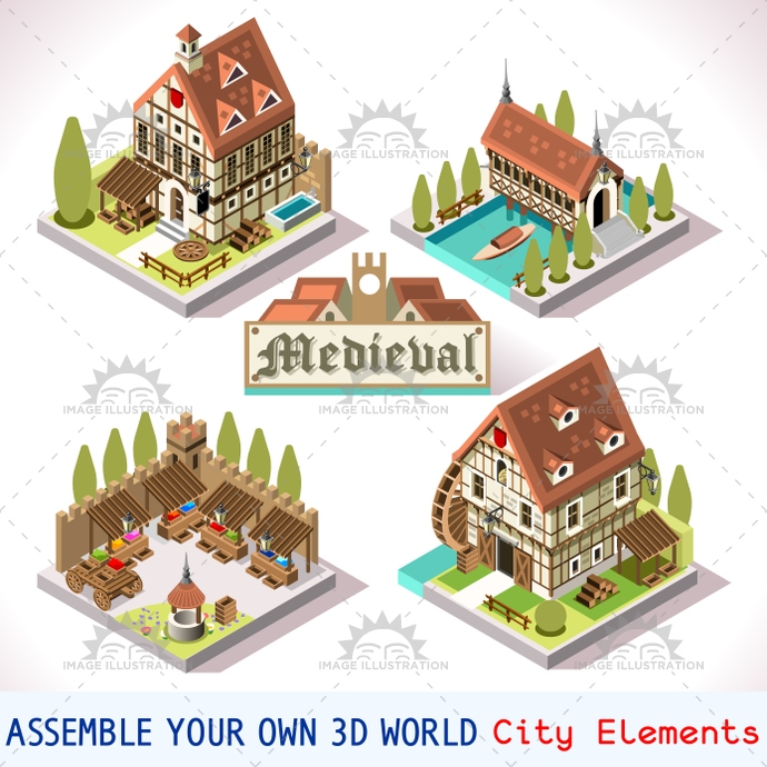 Medieval 03 tiles isometric image illustration for 3d house building games online