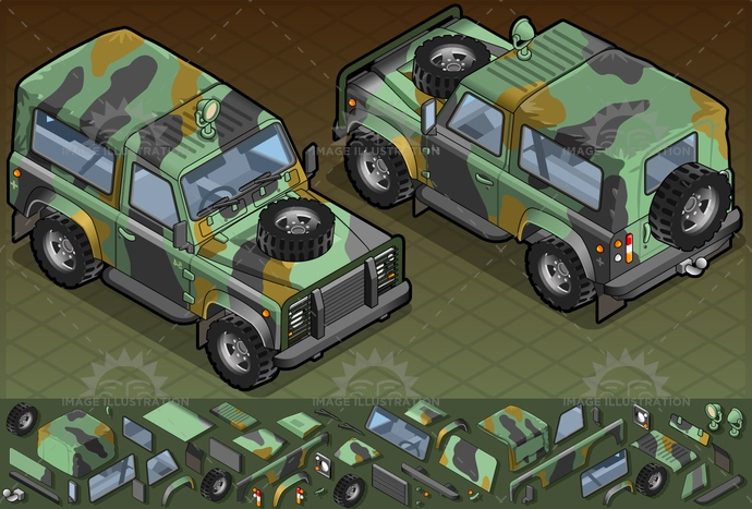 4x4, army, camouflage, car, defender, dust, extreme, forces, frontview, isolated, isometric, jeep, military, MotorVehicle, Off-RoadVehicle, safari, sand, soldier, transport, transportation, troop, war
