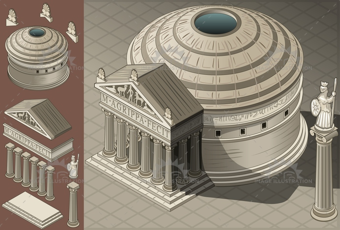 ancient, antique, architecture, building, ceiling, city, classic, column, dome, europe, famous, historic, history, inside, isolated, isometric, italian, italy, landmark, Monument, old, pantheon, religion, roma, roman, rome, statue, Temple, travel, videogame