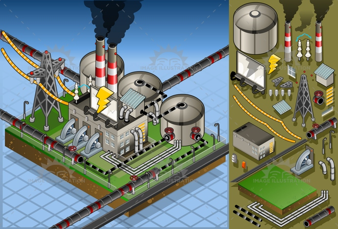 aerialview, belt, building, business, chimney, co2, dioxide, Electricity, electrictower, energy, environment, factory, farm, fuel, Generator, industry, isometric, oil, petroleum, pipeline, plant, pollution, power, production, pump, resource, smoke, station, turbine