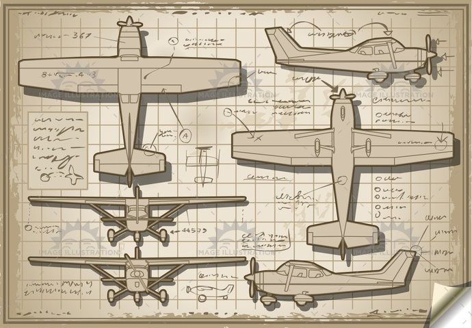 airforce, airplane, airscrew, AirVehicle, aviation, cessna, CoastGuard, Diagram, engine, helix, isolated, landed, old, orthogonal, orthographic, piper, plane, project, retro, rotor, transportation, ultralight, vintage, wing
