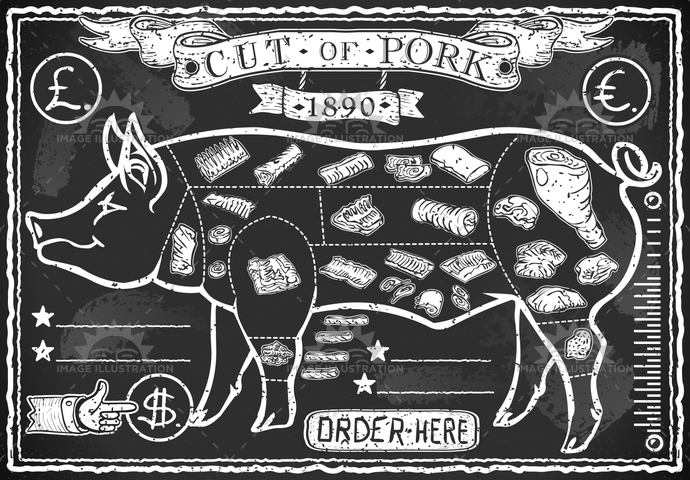 aged, ancient, antique, background, banner, blackboard, ButcherShop, butchery, chalk, crayon, cuisine, decoration, food, freehand, gastronomy, grill, handwriting, hog, meat, menu, old, pig, pork, restaurant, retro, swine, typography, vintage