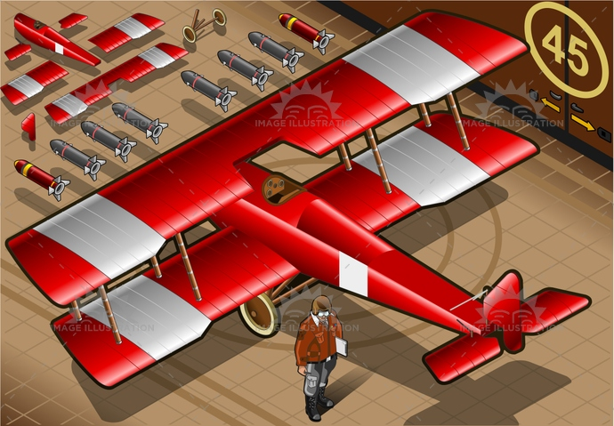 1900, airforce, airplane, airscrew, AirVehicle, aviation, aviator, biplane, bomb, bomber, BomberPlane, helix, isolated, isometric, military, missile, old, Oldfashioned, pilot, red, redbaron, retro, rotor, vintage, war, weapon, wing