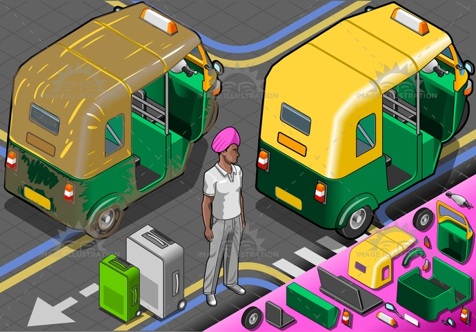Rickshaw 03 Vehicle Isometric