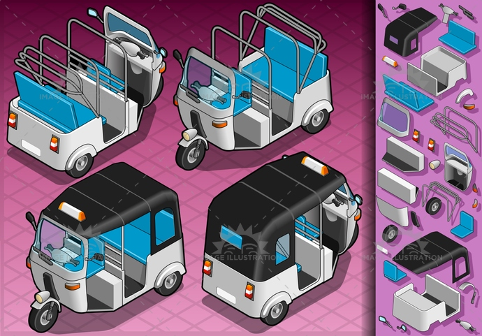 architecture, asia, asian, black, blue, box, cab, cabin, city, color, illustration, india, isometric, object, orange, passenger, people, pink, rickshaw, seat, Taxi, tourism, transport, transportation, travel, vector, white
