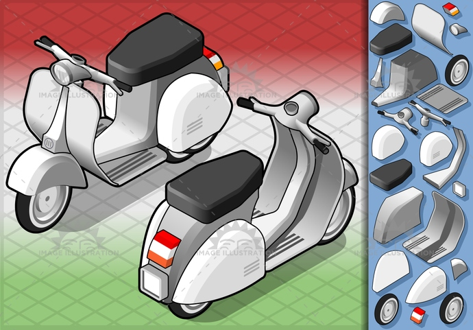 classic, drive, isometric, italian, italianculture, italy, motorbike, motorcycle, old, retro, scooter, transport, wheel, white