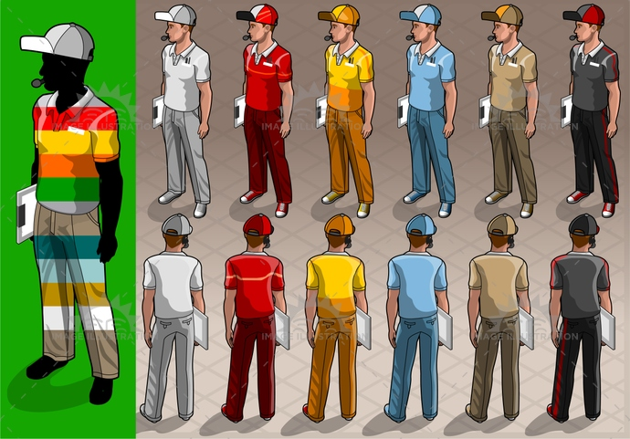 adult, back, caddy, catering, clean, clerk, clothes, clothing, courier, delivery, fastfoodworker, folder, formula1, front, hand, hat, headphone, humanbody, isolated, isometric, male, man, microphone, parkingattendant, people, portrait, professional, service, staff, worker, young