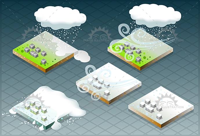 Snow Disaster 01 Infographic Isometric