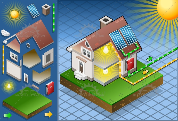 alternative, animation, architecture, cells, Diagram, eco, ecology, economy, Electricity, energy, environment, Generator, green, house, isometric, panel, photovoltaic, PowerStation, renewable, Resourceful, roof, saving, sky, solar, sun, sunlight