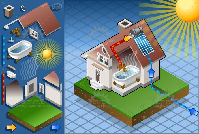 alternative, architecture, collector, Diagram, eco, electrical, energy, Generator, green, heater, heating, hot, house, isometric, nature, panel, PowerStation, renewable, Resourceful, roof, solar, Source, sun, sunlight, system, tank, vacuum, water