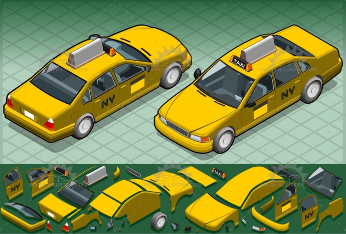 car, frontview, isolated, isometric, MotorVehicle, NewYorkCity, publictransport, Taxi, tourism, transport, transportation, travel, vector, vehicle, yellow, yellowtaxi
