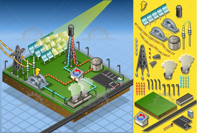 aerialview, alternative, concept, dynamism, eco, ecology, electric, energy, environment, farm, Generator, green, heatexchanger, industry, isometric, mirror, panel, pipeline, plant, power, production, renewable, smoke, solar, steam, storage, sun, tower, turbine, water