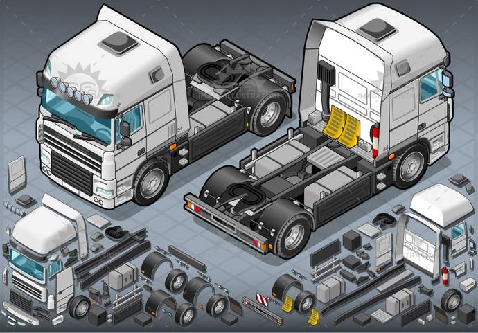carrier, container, delivery, driving, frontview, goods, industry, isolated, isometric, landvehicle, lights, logistic, motor, pack, Pick, rearview, tires, transpallet, transport, transportation, truck, up, van, vehicle, wheels, wipers