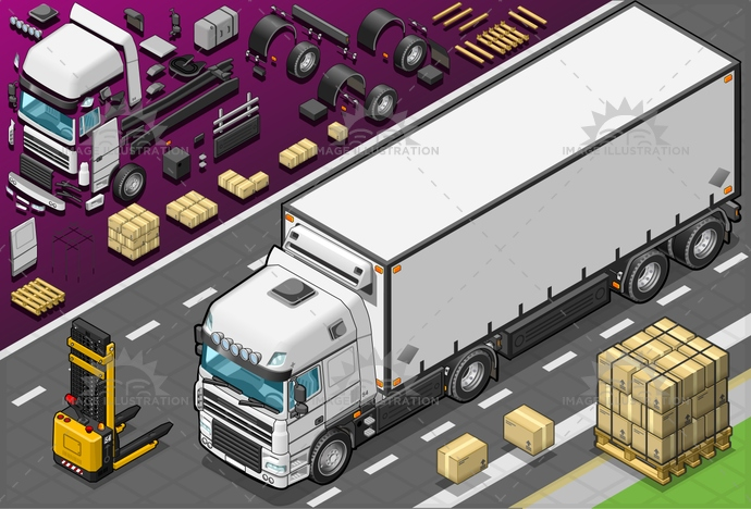 box, cargo, CommercialLandVehicle, container, Convoy, Delivering, delivery, deposit, elevator, forklift, freightliner, FreightTransportation, frigo, industry, isolated, isometric, landvehicle, outline, pack, pallet, SemiTruck, Sending, store, trailer, transportation, truck, truckload, vehicle