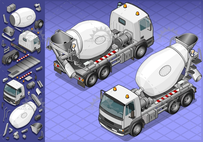 building, carrier, cement, cementmixer, container, driving, frontview, isolated, isometric, landvehicle, lights, malta, mixer, MotorVehicle, rearview, reflector, spotlight, tires, transport, transportation, Transportofgoods, truck, vector, wheels, wipers