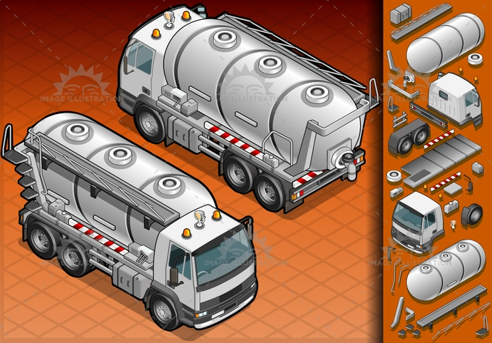 carrier, container, dirt, driving, frontview, Garbage, Garbagebag, garbagecontainer, gas, isolated, isometric, landvehicle, lights, liquid, milk, MotorVehicle, rearview, reflector, rubbishbin, spotlight, tank, tires, transport, transportation, Transportofgoods, truck, vector, wheels, wipers