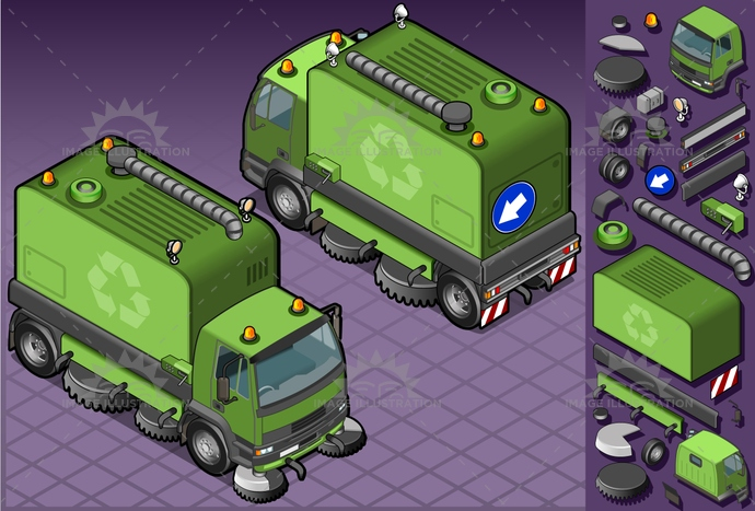 carrier, cleaner, container, dirt, driving, frontview, Garbage, Garbagebag, garbagecontainer, hygiene, isolated, isometric, landvehicle, lights, MotorVehicle, rearview, recyclingsymbol, reflector, rubbishbin, spotlight, tires, transport, transportation, truck, vector, waste, wheels