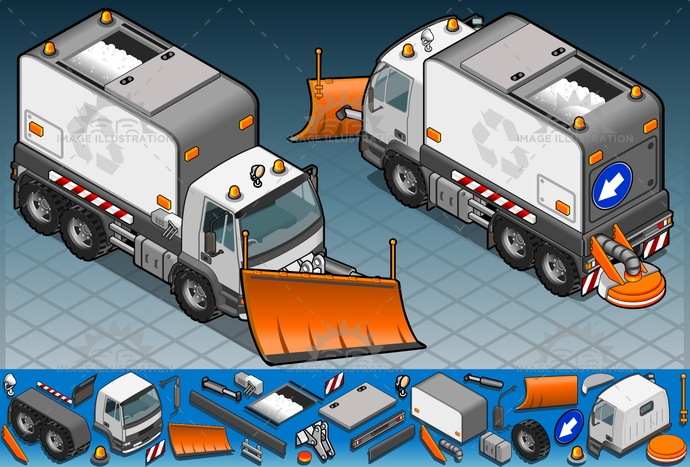 carrier, cleaner, container, driving, frontview, illustration, isolated, isometric, land, landvehicle, lights, motor, MotorVehicle, rearview, reflector, Removal, snow, Snowplow, snowtruck, spotlight, street, Sweeper, tire, transport, transportation, truck, vector, vehicle, wheel