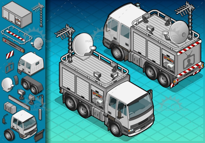 antenna, broadcast, CableTV, carrier, communication, container, driving, frontview, illustration, isolated, isometric, landvehicle, lights, monitor, MotorVehicle, parable, rearview, reflector, spotlight, technology, telecomunication, television, tire, transport, transportation, truck, tv, vector, wheel