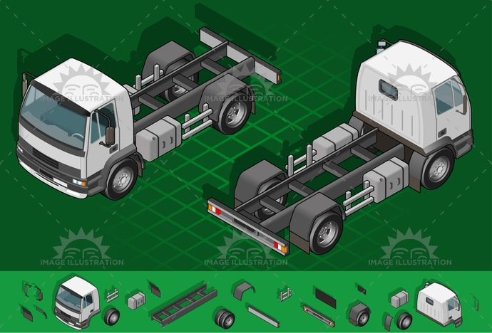 carrier, container, delivery, driving, frontview, isolated, isometric, landvehicle, lights, MotorVehicle, pack, Pick-upTruck, rearview, tires, transpallet, transport, transportation, Transportofgoods, truck, van, vector, wheels, wipers
