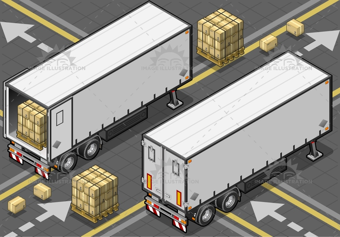 cargo, commercial, container, Convoy, Delivering, delivery, freightliner, FreightTransportation, fridge, industrial, isolated, isometric, outline, rearview, SemiTruck, Sending, SideView, tow, trailer, transportation, truck, truckload, vehicle, white