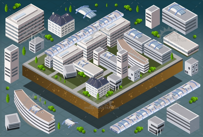3d, architecture, blue, building, buildings, business, city, cityscape, construction, design, estate, graphic, home, house, icon, icons, illustration, isometric, model, office, perspective, plan, real, set, skyscraper, street, town, urban, vector
