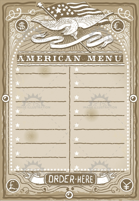 aged, america, ancient, antique, banner, blue, crayon, cuisine, dollar, eagle, euro, firstcourse, flag, food, freehand, gastronomy, handwriting, menu, old, pound, restaurant, retro, rose, star, stripe, usa, vintage, western, yen