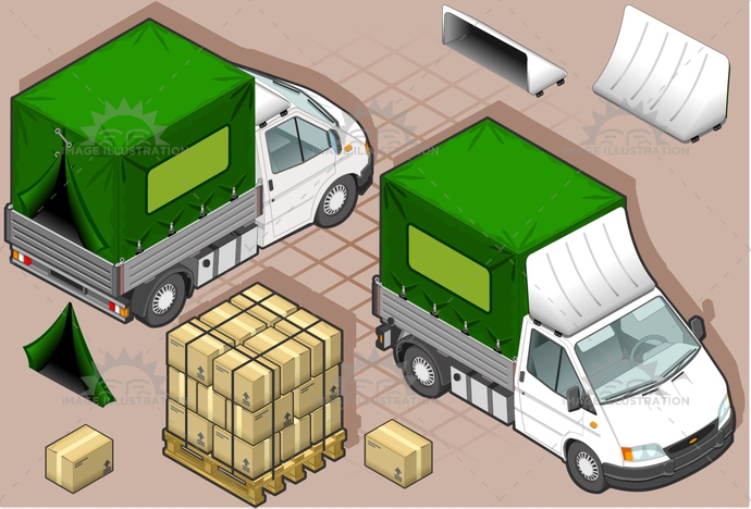 carrier, container, delivery, front, goods, isometric, land, lights, MotorVehicle, pack, Pick, rear, tires, transpallet, transport, transportation, truck, up, van, vehicle, view, wheels, wipers