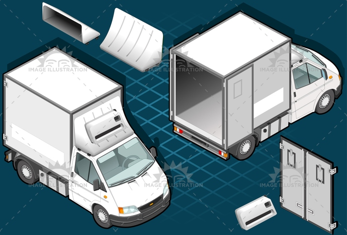 carrier, cold, container, delivery, front, frozen, ice, isometric, landvehicle, lights, motor, pack, Pick, rear, Refrigeration, refrigerator, tires, transport, transportation, truck, up, van, vehicle, view, wheels, wipers