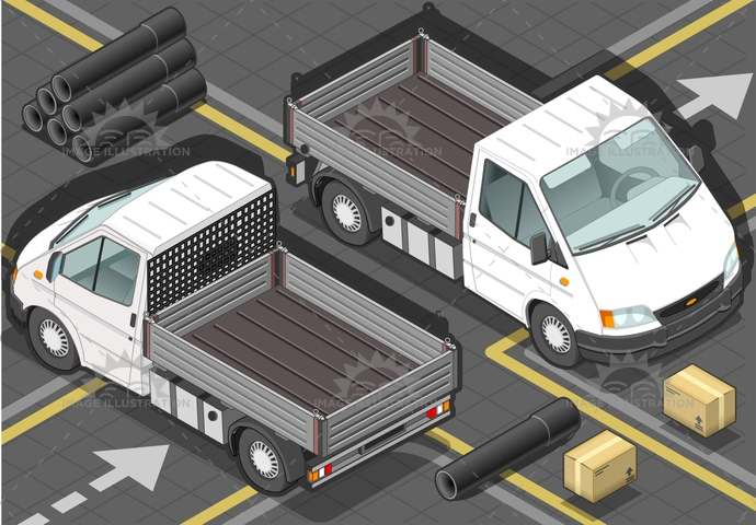 carrier, container, delivery, goods, isometric, landvehicle, lights, MotorVehicle, pack, Pick-upTruck, pipe, pipeline, tires, transpallet, transport, transportation, Transportofgoods, van, wheels, wipers
