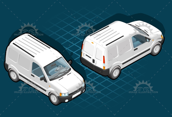 carrier, container, delivery, frontview, isometric, landvehicle, lights, MotorVehicle, pack, Pick-upTruck, rearview, tires, transport, transportation, Transportofgoods, van, wheels, wipers
