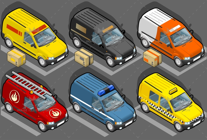 carrier, container, delivery, firefighters, flashing, frontview, isometric, ladder, landvehicle, lights, MotorVehicle, pack, package, Pick-upTruck, police, publictransport, security, Taxi, tires, transport, transportation, Transportofgoods, van, vehicle, wheels, wipers