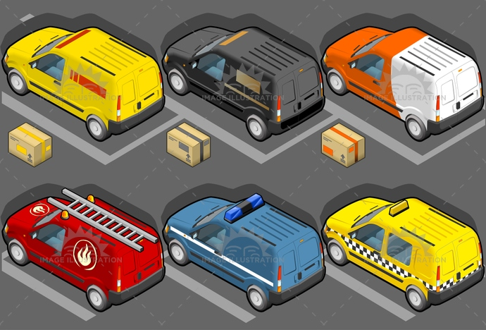 carrier, container, delivery, firefighters, flashing, frontview, isometric, ladder, landvehicle, lights, MotorVehicle, pack, package, Pick-upTruck, police, publictransport, security, Taxi, tires, transport, transportation, Transportofgoods, van, vector, vehicle, wheels, wipers