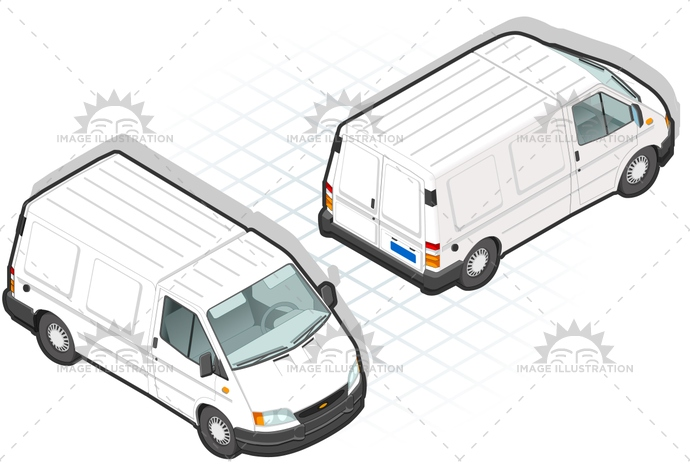 carrier, container, delivery, frontview, isometric, landvehicle, lights, MotorVehicle, pack, Pick-upTruck, rearview, tires, transpallet, transport, transportation, Transportofgoods, van, wheels, wipers