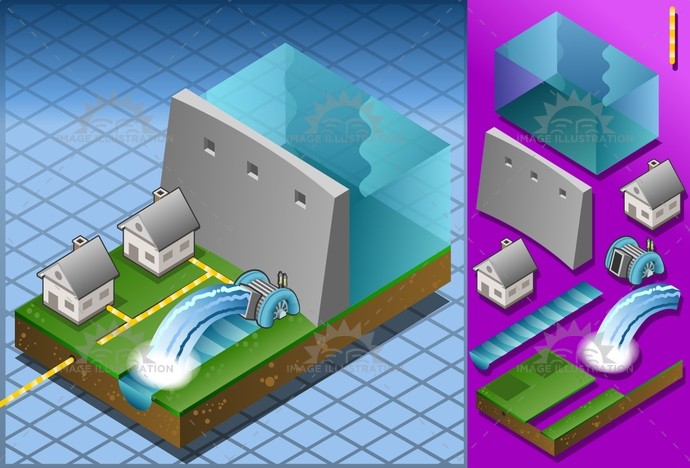alternative, architecture, building, cable, dam, ecology, electricaltransformer, Electricity, energy, environment, Generator, green, house, Hydropower, isometric, mill, milling, nature, PowerStation, Resourceful, river, Source, structure, technology, turbine, water, watermill, waterwheel, wheel
