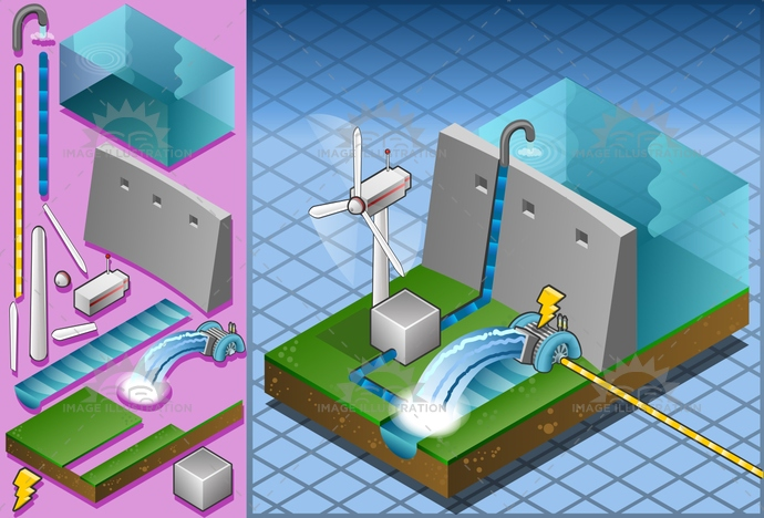 alternative, building, dam, ecology, Electricity, energy, environment, Generator, green, isometric, mill, milling, nature, power, PowerStation, Resourceful, river, Source, structure, technology, transformer, turbine, water, watermill, waterwheel, wheel, wind