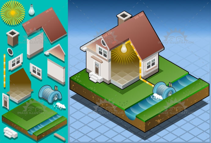 alternative, architecture, cable, ecology, electricaltransformer, Electricity, energy, environment, Generator, green, house, isometric, mill, milling, nature, PowerStation, Resourceful, river, Source, structure, technology, turbine, water, watermill, wheel