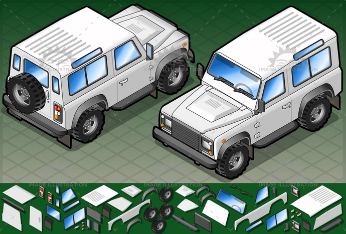 4x4, car, defender, frontview, isolated, isometric, jeep, MotorVehicle, Off-RoadVehicle, SportsUtilityVehicle, tourism, transport, transportation, travel, vector, vehicle