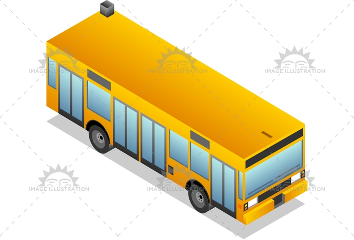 advertisement, bus, carrier, coach, CoachBus, Commuter, IllustrationandPainting, isolated, isometric, landvehicle, Modeoftransportation, passenger, PeopleTraveling, PublicTransportation, rearview, ShuttleBus, SideView, TourBus, transportation, vector, wheel