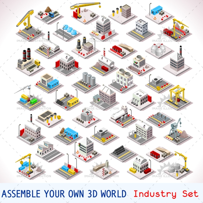 Game Set Building Isometric factory icon set.