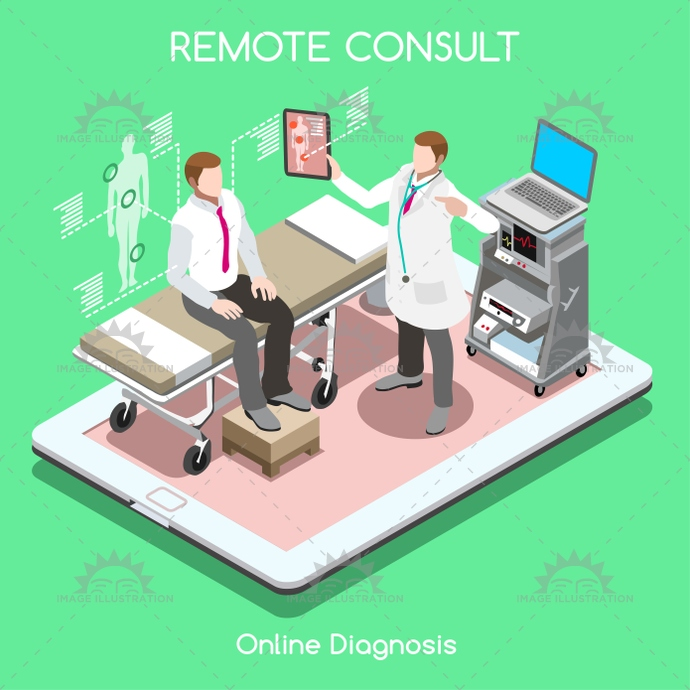 Remote Doctor 01 People Isometric Image Illustration