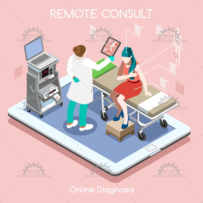 Remote Doctor 02 People Isometric Image Illustration