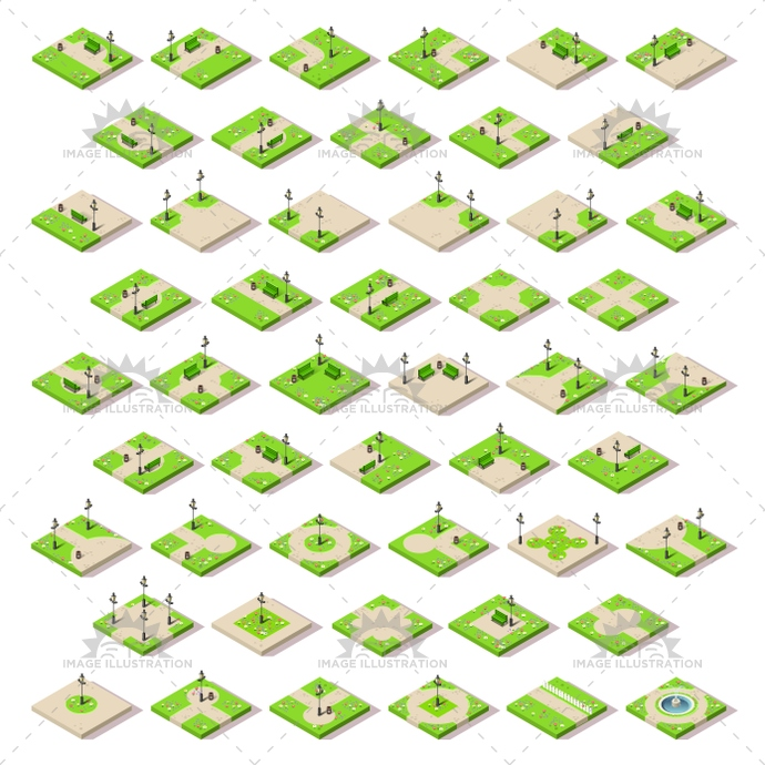 3d, alley, arch, backdrop, background, bench, border, can, central, city, cute, entertainment, footpath, fun, furniture, game, garden, gate, grass, green, hedge, icon, illustration, isometric, lamp post, landscape, map, mini, miniature, nature, park, path, pattern, playground, puzzle, retro, road, scene, spring, stuff, tile, town, trash, tree, urban, vector, walk, way