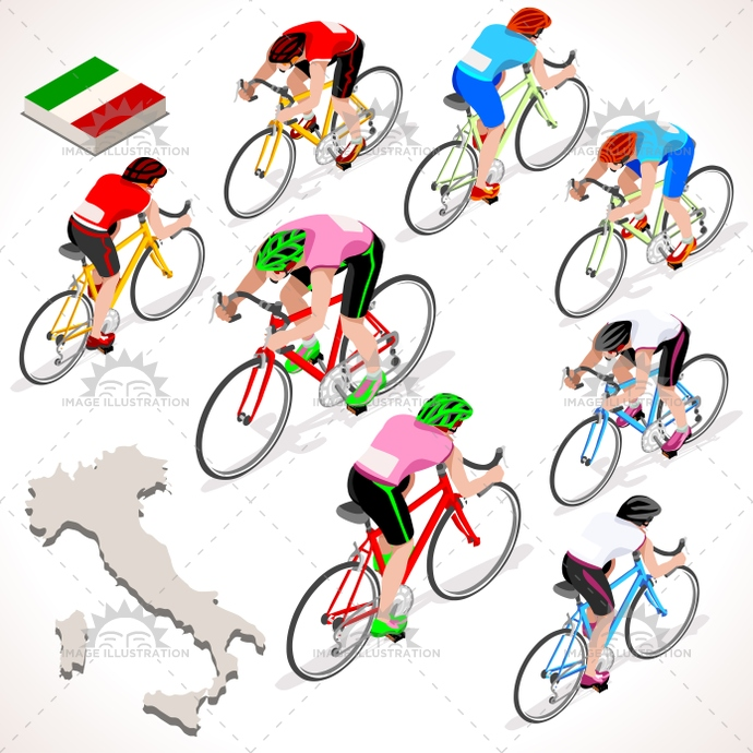 Cyclist 2016 Giro Italia Isometric People