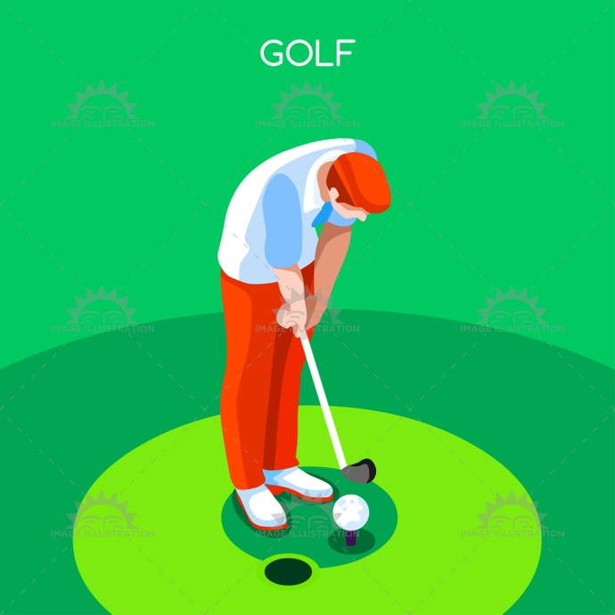 Golf Summer Games Isometric Icon