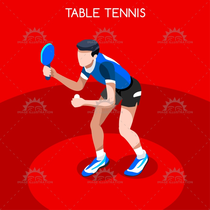 Table Tennis 2016 Summer Games 3D Isometric Vector Illustration