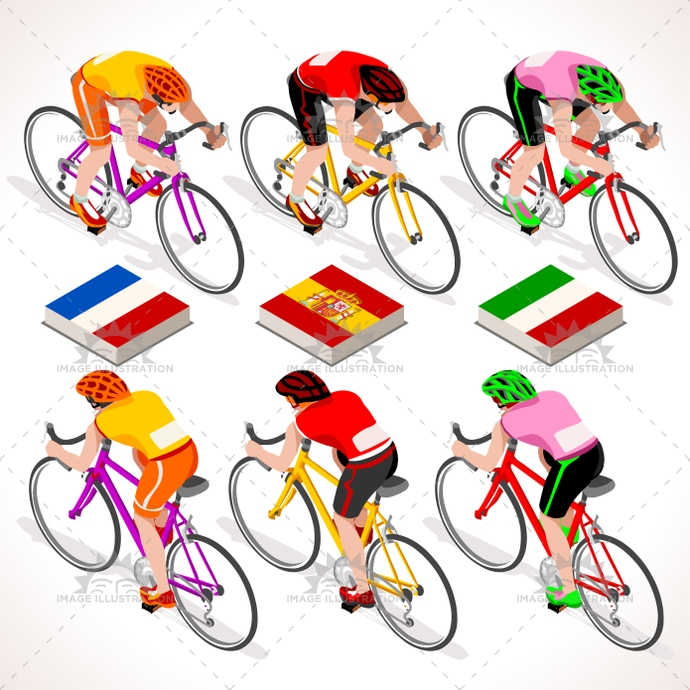 2016, 3d, art, bicyclist, bike, biker, bycicle, cartoon, character, clip, competition, Cycling, cyclist, flat, france, giro, graphic, group, icon, illustration, isolated, isometric, isometric people, italy, lane, logo, man, path, people, race, rider, riding, road, sign, spain, sport, street, summer sports, symbol, tile, tour, urban, vector, vuelta