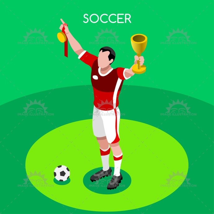 Awesome Soccer Winner 2016 Summer Games 3D Isometric Vector Illustration Download Free Architecture Designs Embacsunscenecom